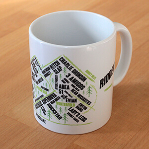 Peaslake Cycling Mug Gift showing Mountain Bike Trails in the Surrey Hills, Holmbury including Pitch Hill and Leith Hill Mountain Biking Routes