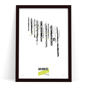 Barry Knows Best Peaslake Forest Trail Poster Gift on white showing a Mountain Biker descending the Surrey Hills Trail