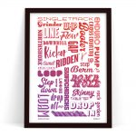 Cycling Poster Gift showing cycling terms and cycling phrases used by Mountain Bikers